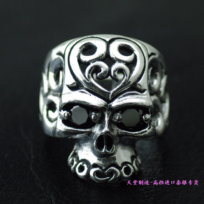 925 pure silver Zircon cutout skull thai silver male ring