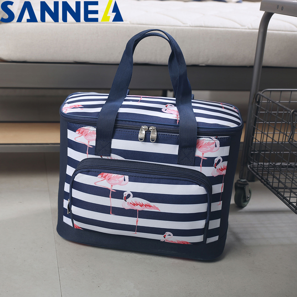 SANNE 20L Flamingo Thicken Foldable Fresh Insulated Cooler Bag Thermal Waterproof Polyester Ice Bag Insulated Cooler Bag