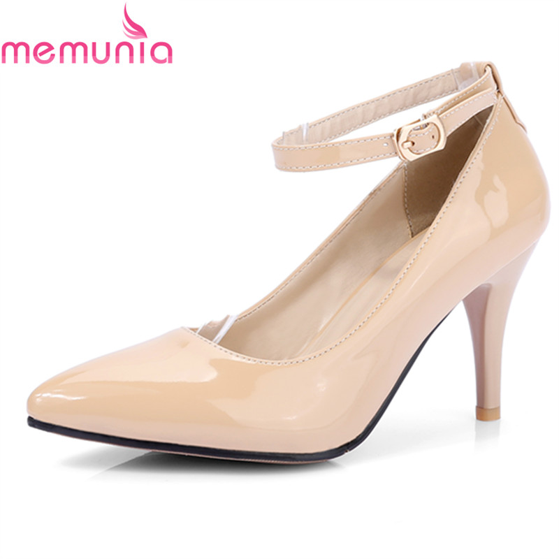 MEMUNIA autumn 2018 sexy stiletto heels wedding shoes bride fashion pointed toe patent leather solid buckle women pumps hc1610 burgundy women bride bridesmaids dress court pumps pointed toe d orsay stiletto heels buckle satin wedding bridal shoes