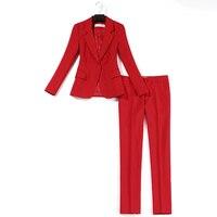 OL professional 2 piece outfits for women suit women's fashion suit temperament slim jacket dress red suit nine pants two sets