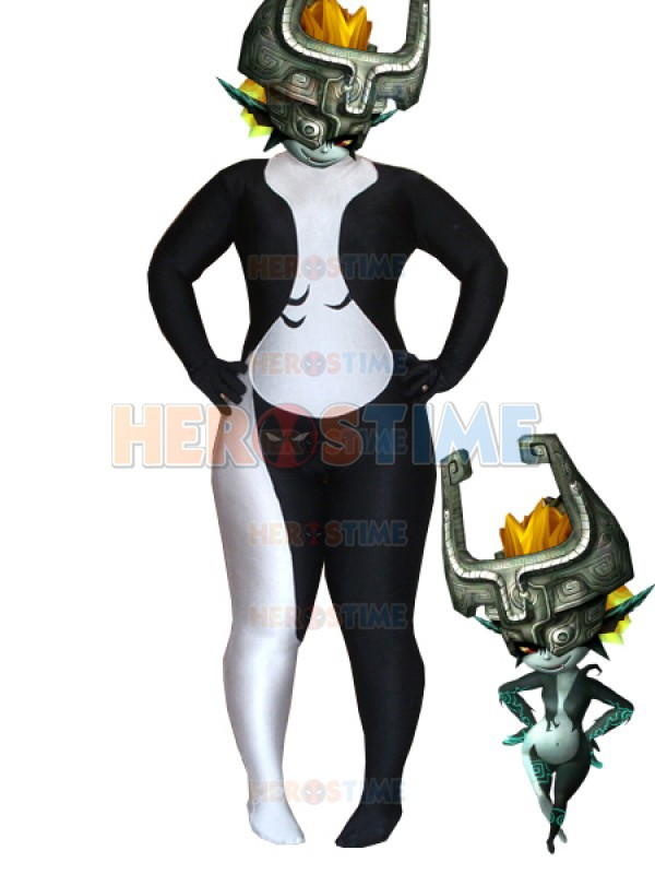 2015 Newest Twilight Princess Midna Costume Black And White Spandex female halloween cosplay zentai suit hot sale free shipping