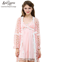 Princess Sweet Cute Robe & Gown Sets Two Pieces Suit Sweet and Elegant Lace Girls' Home Nightwear YC132