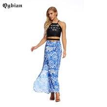 08fbf2bbec Inspirado mujeres falda fina abertura lateral de múltiples capas a largo faldas  alta cintura suelta Tie cintura Casual Maxi fald.