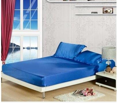 Ipek Kraliyet mavi yatak seti saten Kaliforniya Kral kraliçe tam - Ev Tekstili - Fotoğraf 6