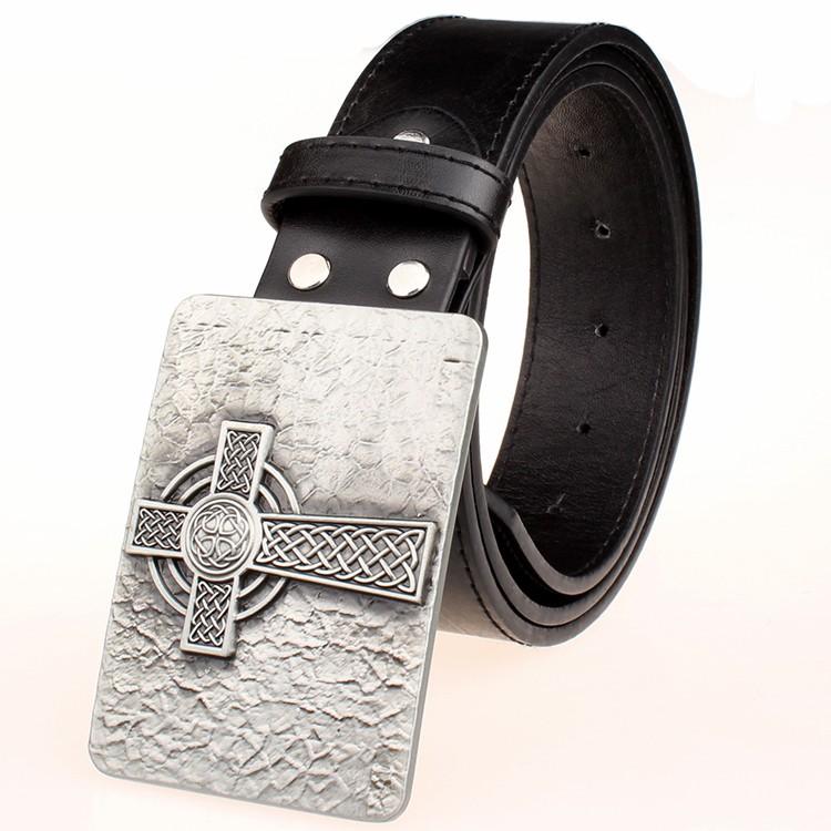 Nuevo cinturón de cuero hebilla de metal cuadrado nudo celta Patrón ...