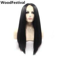 Đen đỏ tóc giả ren tổng hợp phía trước tóc giả chịu nhiệt Straight ren front tóc giả tổng hợp tóc cho phụ nữ tóc giả dài WoodFestival