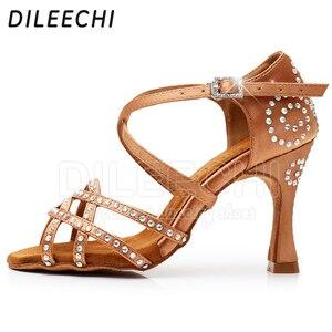 Image 5 - DILEECHI สตรีรองเท้าเต้นรำซาติน Shining rhinestone ด้านล่าง Latin Dance รองเท้าผู้หญิงรองเท้าเต้นรำ Salsa heel5CM 10CM