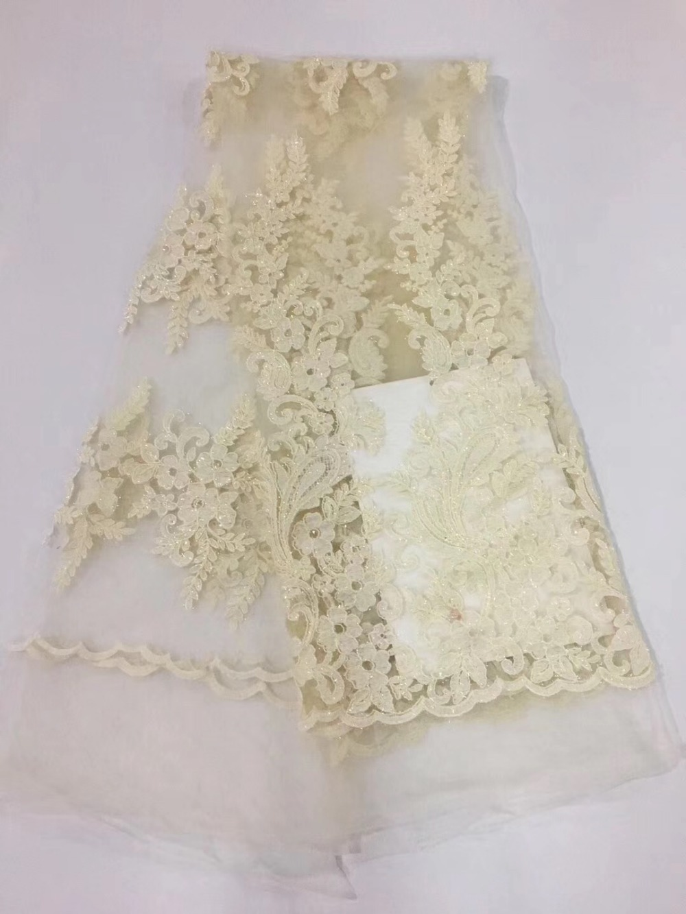 nigerian Tulle French Embroidered Mesh Lace Fabric for wedding/party dress,African white lace fabric,FC7 DP09 5y