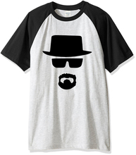 Men's T-shirts summer 2017 short sleeve raglan t shirt Heisenberg character print cotton T-shirt brand clothing kpop hip hop top
