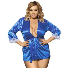 RW70145 Wholesale and retail blue/black sexy babydoll plus size lace trim soft sleepwear with belt womens lingerie and exotic