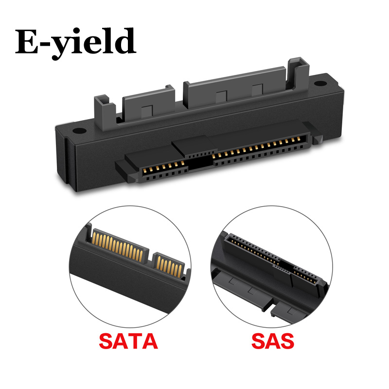 E-yield 90 Degree Right Angled SATA 22Pin 7+15 Male To SFF-8482 SAS 22 Pin Female Extension Convertor Adapter For Hard Disk Dri