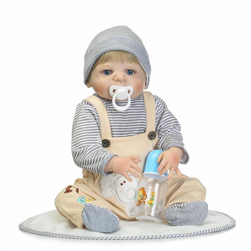 55CM Full Silicone reborn baby doll toys lifelike reborn babies play house toy birthday gift girl brinquedos bonecas