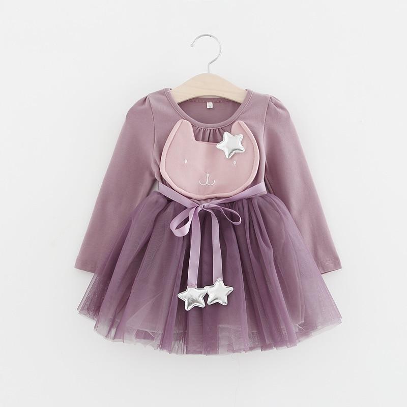 0cdf10aef454 2018 Spring Summer KT Cat Baby Girl Dress Long Sleeve 1 Year Baby Birthday  Dress Strap ...