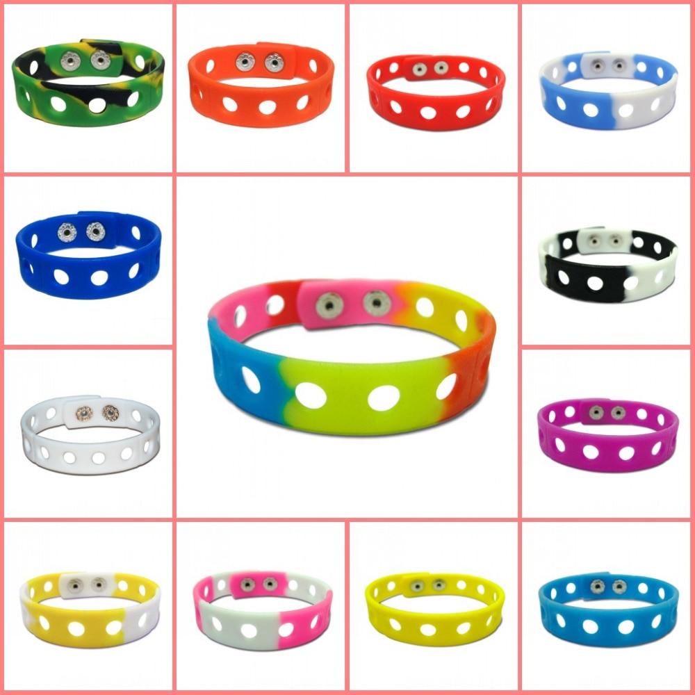 Free DHL 500PCS Mixed Color Fashion Silicone Wristbands Bracelets Bands Wholesale Fit for Shoe Charms 18cm
