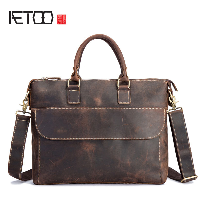 AETOO The leather handbag of the first layer of cow leather man bag is a man's briefcase leather handbag polo women golf club clothing bag handbag nylon first layer of leather