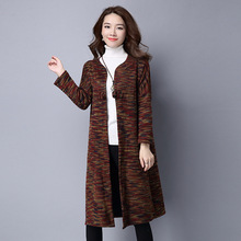Autumn Vintage Fashion New Long Cardigan Casual Large Size Colorful Trench Coat For Women Knitted Fashion Windbreaker