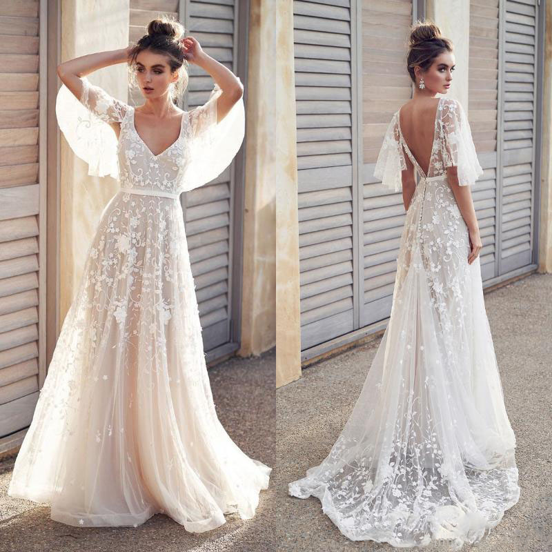 Sexy Backless Beach Boho Lace Wedding Bride Dress A Line 2019 Appliques Cheap Half Sleeve Country Holiday Bridal Wedding Gowns