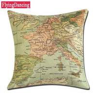 Hot Sale Map Printed 1PC 45 45CM Square Cushion Cover For Home Decor Cushion With Inner