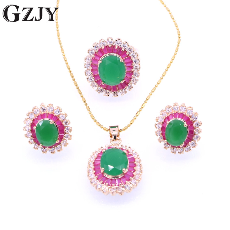 Jewelry-Sets Necklace Earring Pendant Zircon Party-Gift Fashion Gold-Color Green Oval