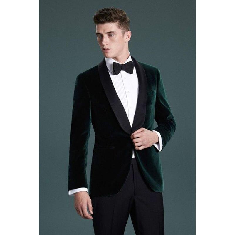 2017 Latest Coat Green Velvet Men Suit Slim Fit 2 Piece Groom mens tuxedo new Burgundy