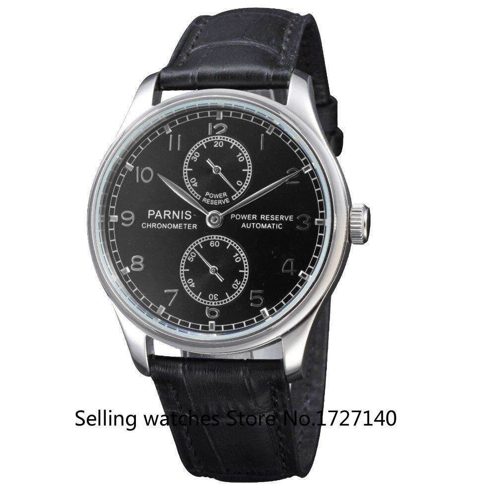 купить 43mm Parnis Power Reserve Dial Automatic Men's Watch недорого