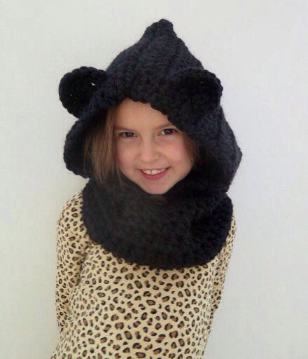Animal Scarf Baby Girl Black Hatbear Hat Cat Hoodie Bear Cowl