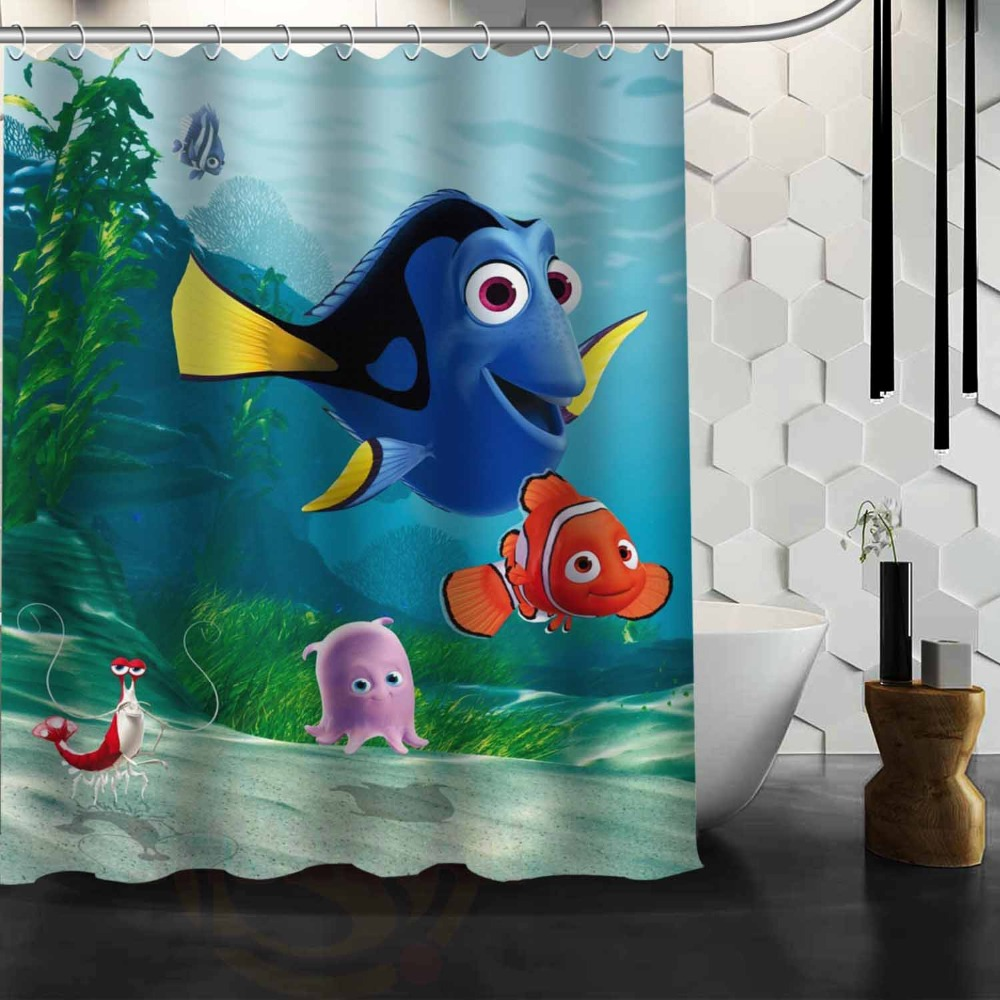 Marlin Dory Finding Nemo Custom Shower Curtain Home Decor Bathroom Waterproof Fabric Bath Curtain 60x72. Brown Tile Bathroom