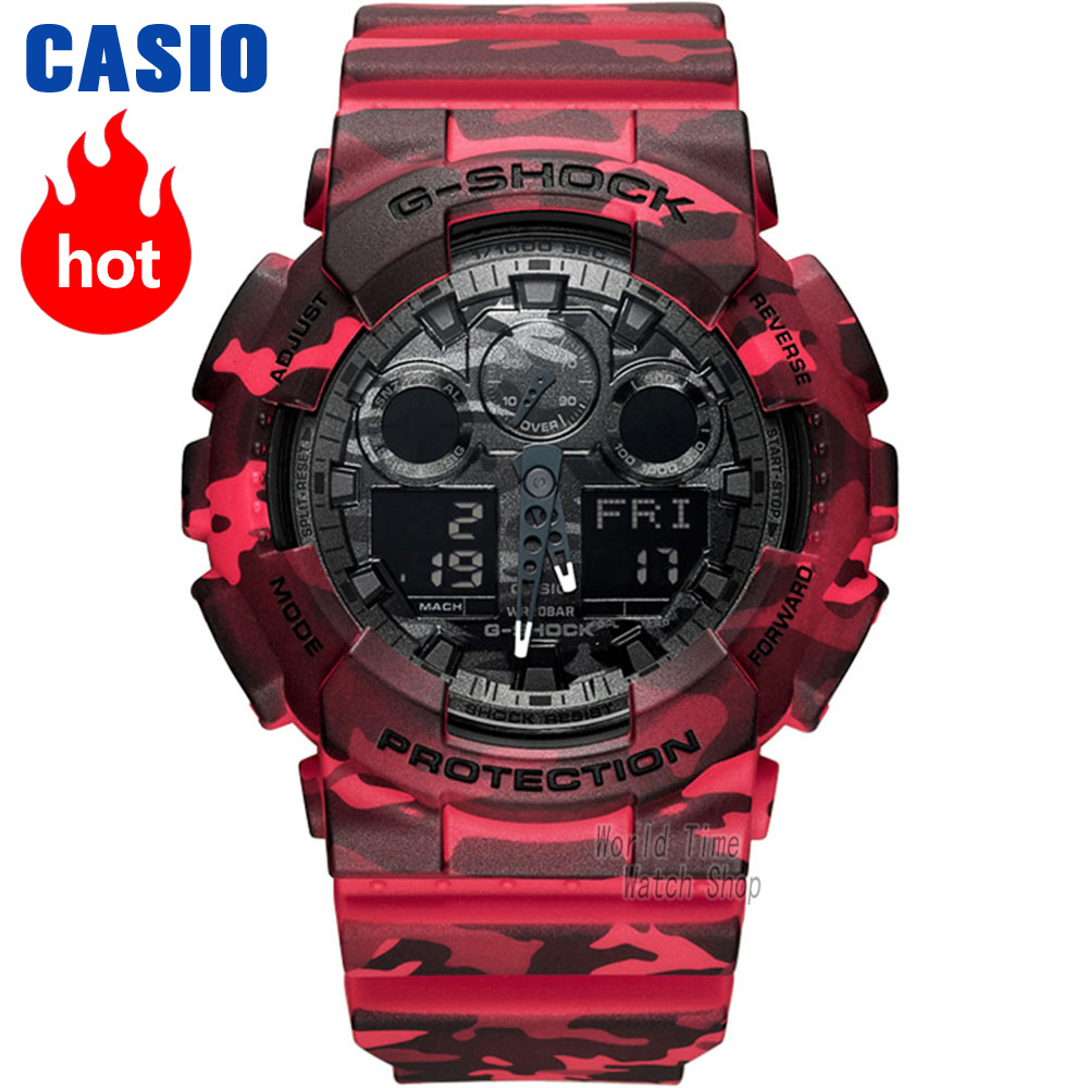 Casio watch G-SHOCK Men's quartz sports watch camouflage sports double display waterproof and shockproof g shock Watch GA-100CM цена