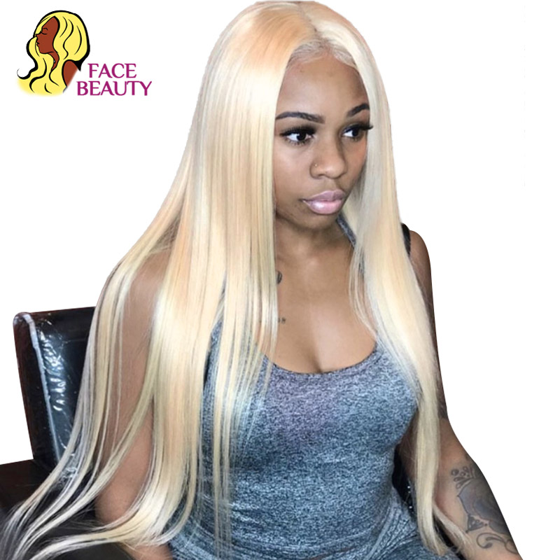 Facebeauty 613 Honey Ombre Blonde Color Lace Front Human Hair Wig For Black Women Pre Plucked 1B 613 Remy Brazilian Straight Wig-in Human Hair Lace Wigs from Hair Extensions & Wigs    1