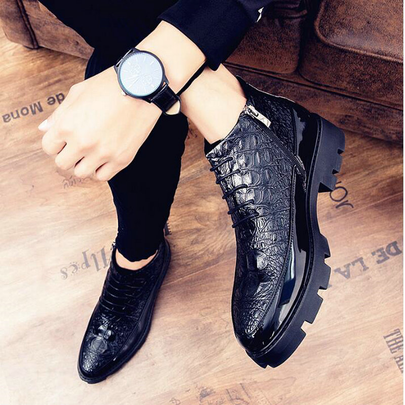 Mocassins en cuir verni masculin chaussures haut haut italien robe formelle richelieu mariage affaires chaussures bottes LH-60