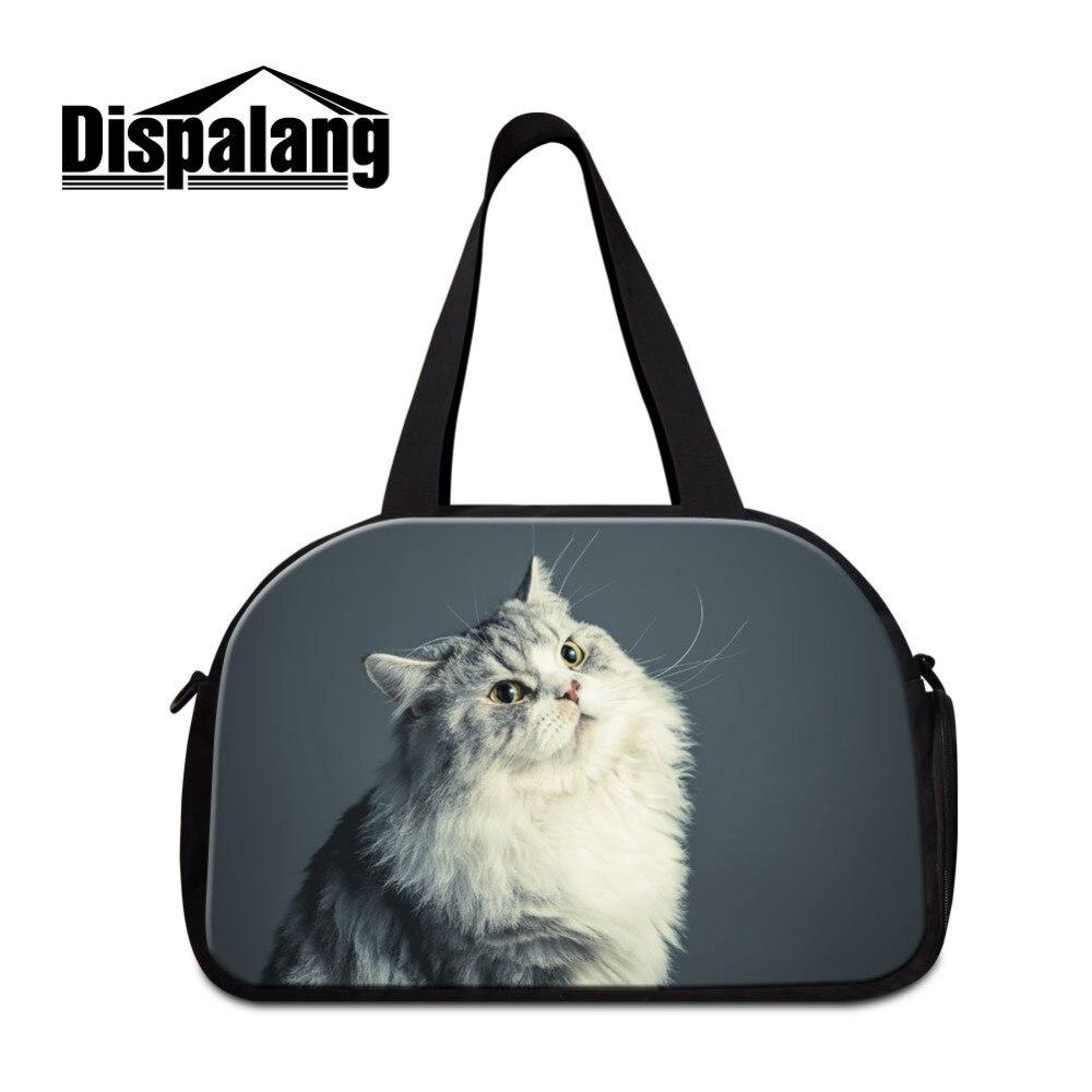 Dispalang Дорожные сумки с отдельное пространство для Обувь кошка печати большой Ёмкость Чемодан Duffle Сумки Повседневное сумки Для женщин Дорож...