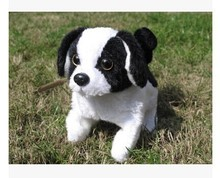 cute simulation dog toy Electric black and whie toy barking dog walking dog wag tail dog doll gift about 16cm