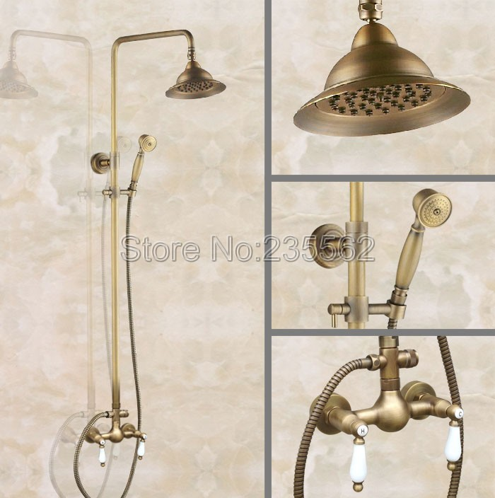 Rain Shower Head With Handheld Spray.Us 120 59 33 Off Antique Brass Bathroom Shower Faucet Set Mixer Tap Rain Shower Heads Handheld Spray Lan115 In Shower Faucets From Home