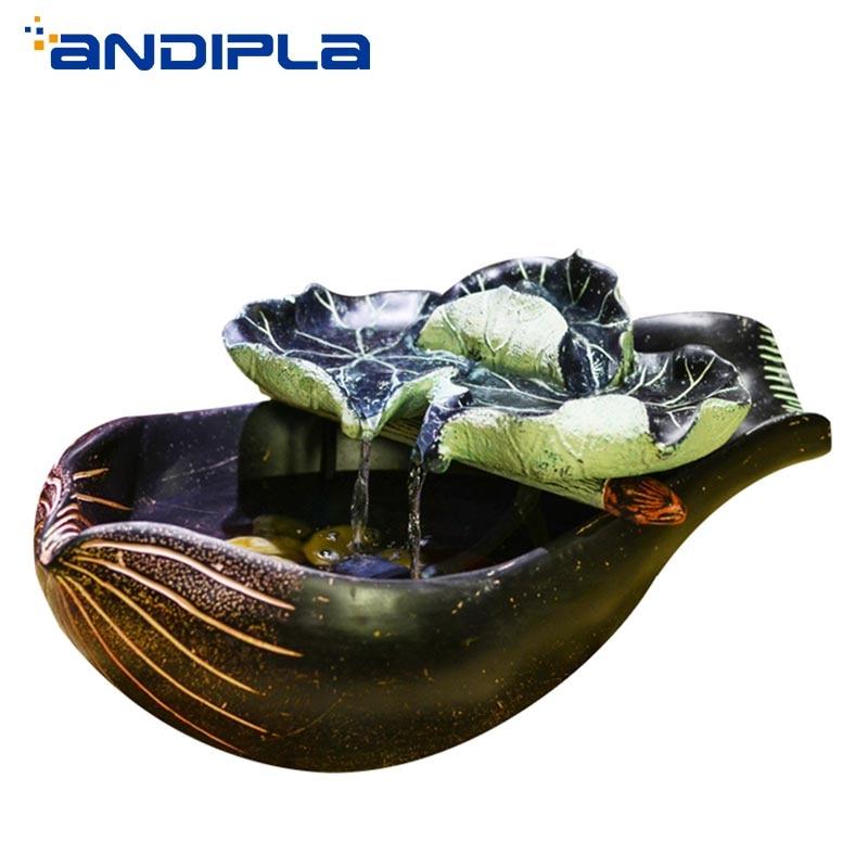 110/220 V Vintage résine Lotus feuille eau fontaine bureau bureau bonsaï poisson réservoir Pot de fleur chanceux ornements Feng Shui décor à la maison