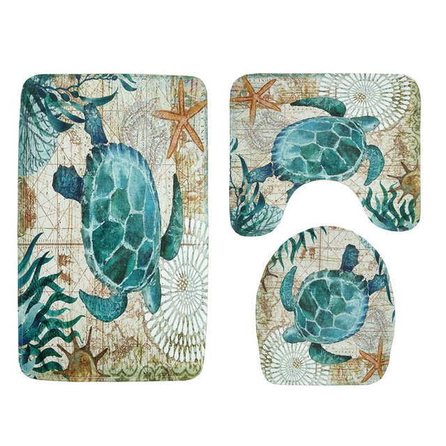 Prime Marine Style 3 Pieces Sets Toilet Seat Cover Wc Set Sea Turtle Printed Bathroom Mat Washable Rug For Washing Room Doormats Uwap Interior Chair Design Uwaporg