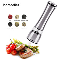Homadise Electric Salt Pepper Mills Grinder Spice Mill Battery Power With Adjustable Ceramic And LED Light