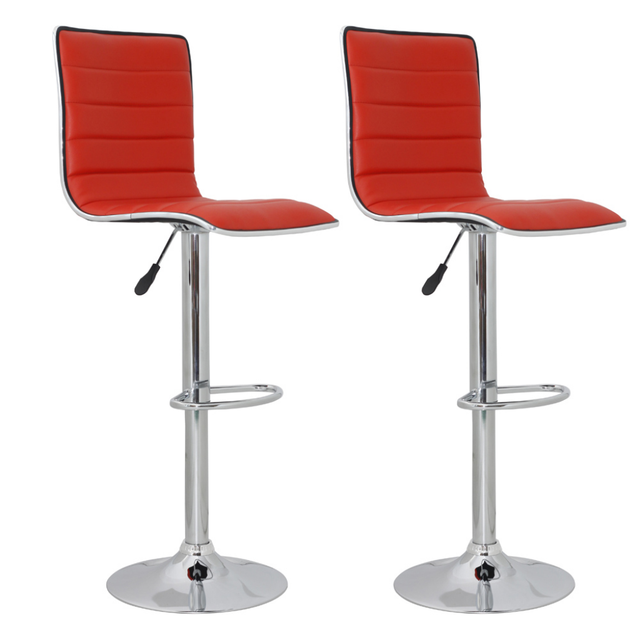 Ikayaa 2 Pcs Bar Stools In Red Leather And High Back Chairs Es Stock