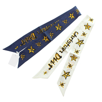 Star Letter Print Lady Neck Bags Decoration Silk Twilly Skinny Scarf Small Ribbon Hair Band Bandeaus