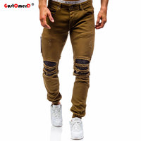 GustOmerD New Men Stretch Destroyed Ripped Design Jeans High Quality Autumn Winter Jeans Fashion Hiphop Zipper