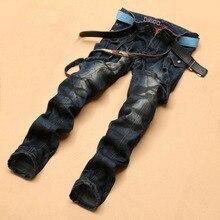 2016 New Arrival Plus Size  Mens Jeans Denim Pants Washed Distressed Pockets Moustache Effect Overalls straps Pencil Pants