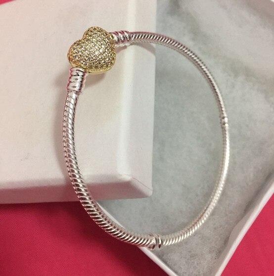 100% authentique 925 En Argent Sterling avec or couleur coeur claps serpent chaîne européenne charm bracelet pour Femmes Bijoux