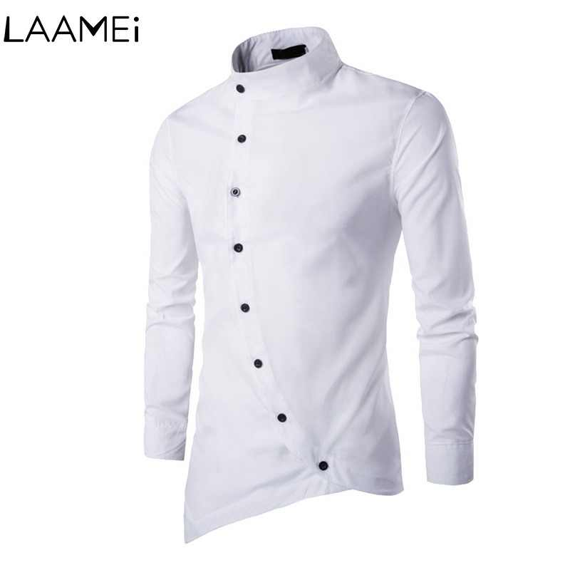 Men's Court Cotton Solid Shirt Men Long Sleeve Strap Button Irregular Shirt Small Stand Collar Mens Shirts Casual Slim Fit Male