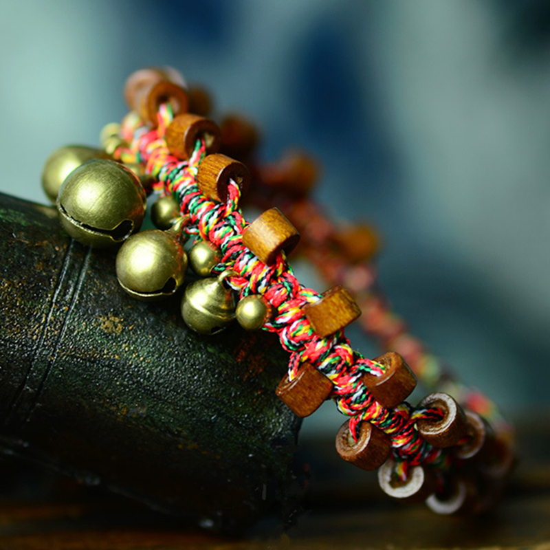 Bohemian Handmade Color String Bracelets & Bangles | Thai Wax Rope Bracelet W/Copper Bells and Wood Beads Hippie Wristband Gift