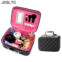 2017 High Quality Woman New Fashion Leather Cosmetic Storage  Bag Beautician Professional Organizer for Cosmetics Makeup Bag