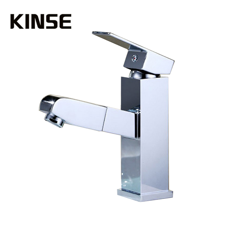 Pull Out Basin Faucet Bathroom Kitchen Single Lever Vanity Sink Faucet Brass Chrome Water