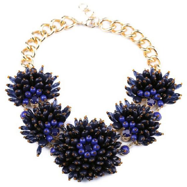 La moda de Nueva Hermosa Hecha A Mano Grande de La Flor Azul Declaración Gargantillas Collar Para Las Mujeres de la Fábrica Al Por Mayor