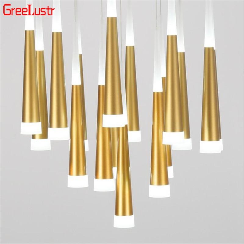 Modern Loft Led Pendant Lights 7W Gold /Silver Led Conical Pendant Lamps Aluminum Acrylic Hanging Light For Bar Resterautant