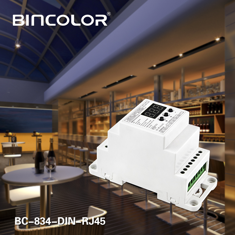New BC 834 DIN RJ45 DIN Rail DC12 24V 6A 4CH output 4CH Constant voltage DMX512 1990 Decoder controller for led strip lamp in Dimmers from Lights Lighting