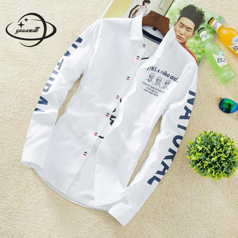 YAUAMDB men shirt 2017 autumn winter size M-4XL cotton male letter long sleeve shirt slim casual turn-down collar clothing y43 1