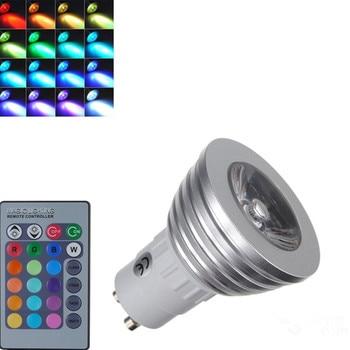 Dimmable RGB LED light 3W spotlight E14 GU10 110V 220V ultra brightness + 24 key remote control High quality 10Pcs/lot
